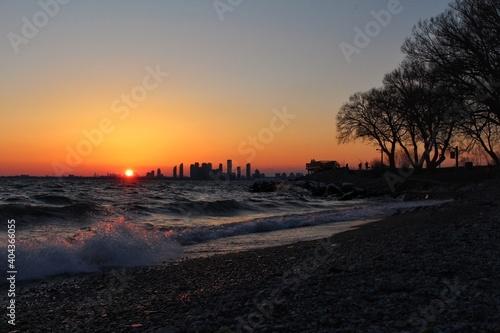 Fototapeta premium View Of City At Sunset