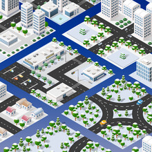 Isometric Set Of Blocks Module Of Areas Of The City Construction