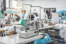 Sewing Machine In Tailoring Workshop