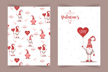 Retro Valentines Cards With Gnomes. Scandinavian Cute Elves In Red Hat With Air Balloon. Vector Illustration In Flat Style. Nordic Design For Poster, Flyer, Gift Tags And Postcards.