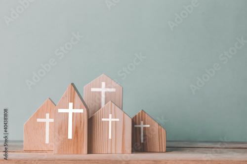 Canvas-taulu Village of church for catholics , community of Christ , Concept of hope , christianity , faith, religion and church online