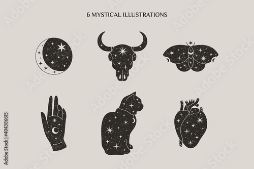 Magic and Mystical Collection in Trendy Minimal Style with Moon, Bull Skull, Butterfly, Hand, Cat symbols Fototapeta