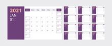 Calendar 2021 Week Start Sunday Corporate Design Planner Template With Purple Theme