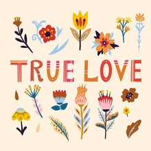 True Love. Hand Drawn Vector Illustration. Lettering With Romantic Doodle Floral Elements.