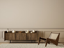 Classic Beige Interior With Dresser, Lounge Chair, Moldings And Decor. 3d Render Illustration Mock Up.