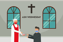 Ash Wednesday Vector Concept. Pastor And Male Catholic With Ash Cross Mark In The Church