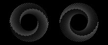 Halftone Spiral Circle With Waves In Sea Style