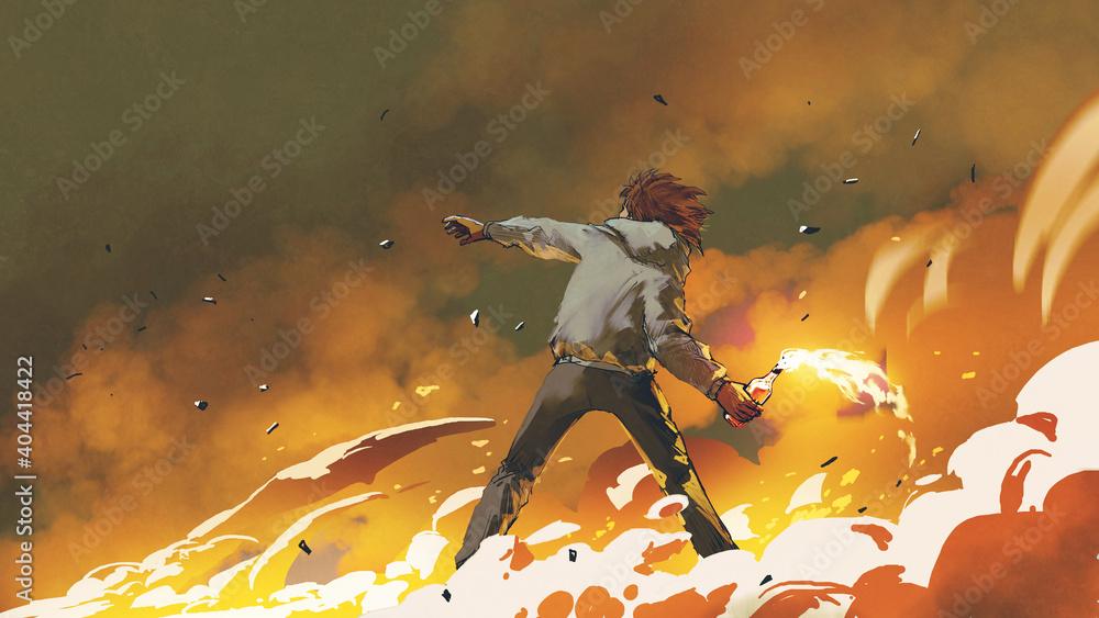 Fototapeta The man throwing a molotov cocktail, digital art style, illustration painting
