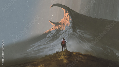 man standing on a hill looking at the strange mountain, digital art style, illus Wallpaper Mural