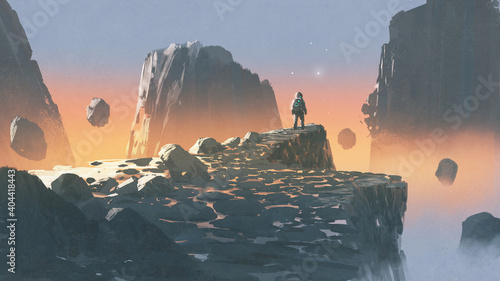 spaceman standing on a cliff in a rocky land, digital art style, illustration pa Fototapet
