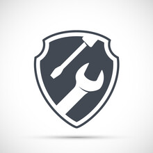 Tools Wrench And Screwdriver On Shield. Vector Icon.