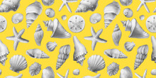 Seamless Pattern With Underwater Life Objects - Gray Sea Shells, Marine Starfish. Watercolor Hand Drawn Painting Illustration Isolated On Yellow Background.