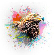 Eagle's Head Illustration On Background With Colorful Creative Elements