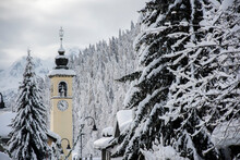 Bell Tower Amidst Snow Covered Trees
