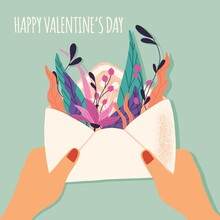 Envelope With Love Letter. Colorful Hand Drawn Illustration With Handlettering For Happy Valentine's Day. Greeting Card With Flowers And Decorative Elements.