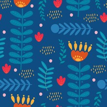 Bright Stylized Flowers On A Blue Background, Seamless Botanical Pattern, Branches And Leaves, Ideal For Printing On Fabric, Paper Or Interior Decor