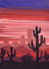 Hand Drawn Acrylic, Oil Or Gouache Painting. Violet And Red Sun Set Sky. Pink City Silhouette. Purple Desert Dunes. Black Cactuses. Textured Background. Nature And Ecology. Post Cards And Posters