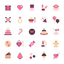 Valentine Icon Set. Cute And Lovely Valentines Day Simple Icon.