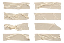 White Wrinkled Adhesive Tape Isolated On White Background. White Sticky Scotch Tape Of Different Sizes.