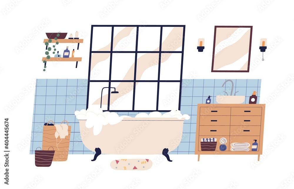 Fototapeta Modern scandinavian bathroom interior furnished with bathtub and washstand. Foamy bath tub in cosy room. Colorful flat vector illustration isolated on white background