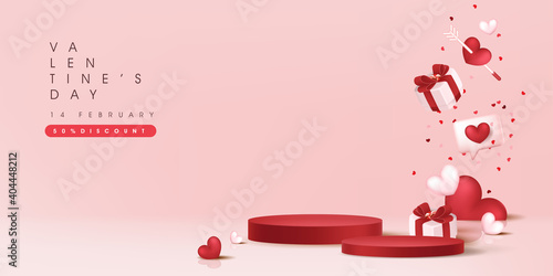 Valentine's day sale banner backgroud with with product display cylindrical shape.