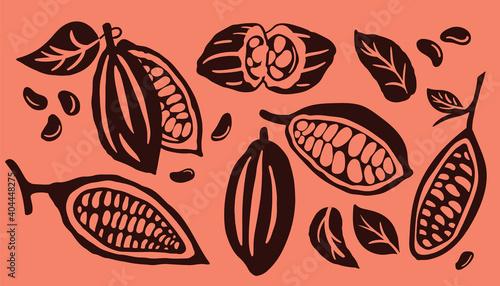 Stampa su Tela Cocoa pod and many raw beans set isolated on orange background