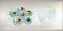Abstract Concept Image With Flags Of Six ESA Countries (Eastern And Southern Africa) On Gear Wheels Working Together Within The Mechanism Of Cooperation Between The Member States. 3D Illustration