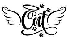 Cat Angel With Wings, Gloria, Bone And Footprints, Paws. - Hand Drawn Positive Tattoo. Modern Brush Design. Memory Ink. Love Your Dog. Inspirational Vector Graphic.