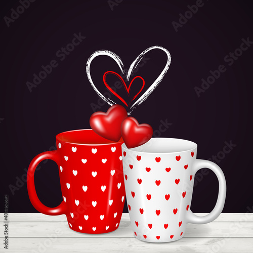 Obraz Background with realistic red and white cups with hearts. - fototapety do salonu