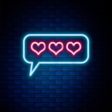 Glowing Neon Line Like And Heart Icon Isolated On Brick Wall Background. Counter Notification Icon. Follower Insta. Colorful Outline Concept. Vector.