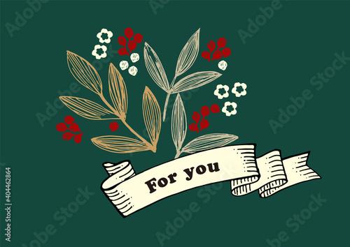 レトロな植物とリボンのイラスト、クリスマス、花束、メッセージカード