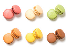 Assortment Of French Macarons Pastry High Angle View Isolated On White Background