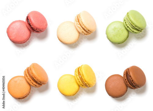 Fototapeta Assortment of french macarons pastry high angle view isolated on white background obraz