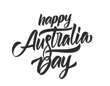 Handwritten Calligraphy Brush Lettering Of Happy Australia Day