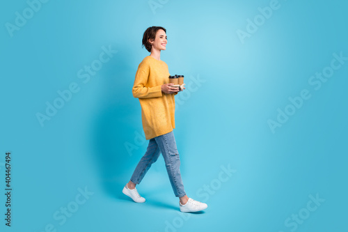 Fototapeta Full length body side profile photo of girl bob hair carrying coffee holder with two beverages isolated on bright blue color background obraz