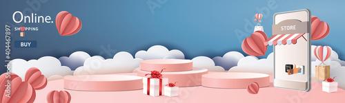 Valokuva paper art online shopping  on smart phone  buy sell on mobile technology marketing vector illustration