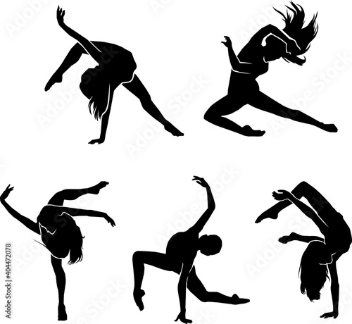 ballerina exercising silhouette Fototapet