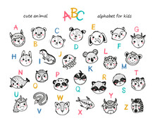 Cute Animals Alphabet For Kids. Cartoon English Alphabet For Children. Hand Drawn Lovely Baby Animal Faces With Doodle Latin Letters. Childish Vector ABC Poster For Preschool Education
