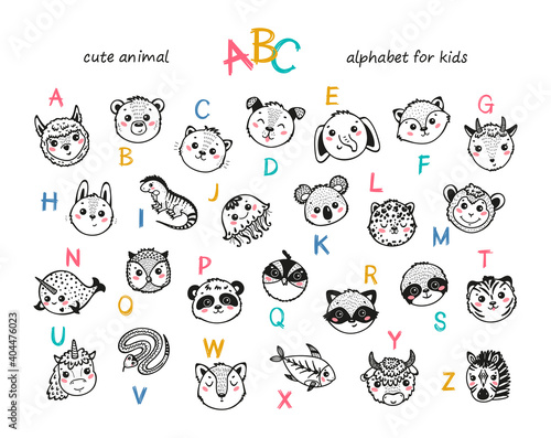 Fototapeta premium Cute Animals Alphabet for Kids. Cartoon English Alphabet for Children. Hand Drawn Lovely Baby Animal Faces with Doodle Latin Letters. Childish Vector ABC Poster for Preschool Education