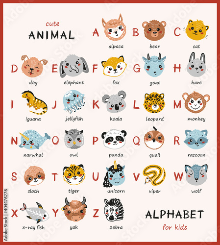 Fototapeta premium Cute Animal Alphabet for Kids. Cartoon English Alphabet for Children. Hand Drawn Lovely Baby Animals Faces with Doodle Latin Letters and Names. Childish Vector ABC Poster for Preschool Education