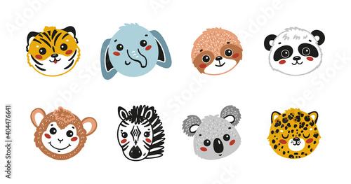 Fototapeta premium Cartoon Cute Animal Faces Vector Set. Doodle Wild Animals: Tiger, Elephant, Sloth, Panda, Monkey, Zebra, Koala and Leopard