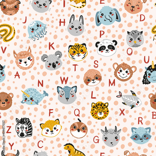 Fototapeta premium Cute Animal Alphabet Seamless Pattern. Cartoon Funny Baby Animals Faces and Doodle Latin Letters. Childish Vector ABC Background