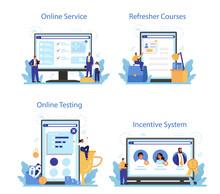Personnel Screening Online Service Or Platform Set. Business Recruitment