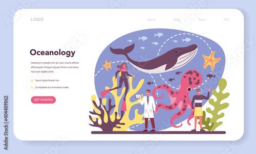 Oceanologist web banner or landing page set. Oceanography scientist. Practical