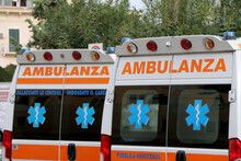 Italian Ambulance Parked In Front Of The Emergency Room In The Hospital