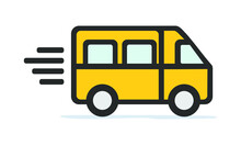 Cute Yellow School Bus In Motion - Moving Bus Transportation Clipart Icon