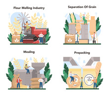 Flour Melling Industry Set. Modern Grain Processing Industrial Factory