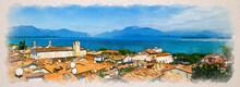 Watercolor Drawing Of Panorama Of Desenzano Del Garda Town With Red Tiled Roof Buildings, Garda Lake Water, Monte Baldo Mountain Range
