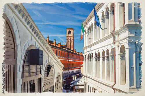 Papel de parede Watercolor drawing of Venice: Palazzo dei Camerlenghi palace building and bell t