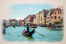 Watercolor Drawing Of Venice: Gondolier And Tourists On Gondola Traditional Boat Sailing On Water Of Grand Canal Waterway With Venetian Architecture